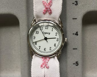 "Ribbon Watch -Pink Check X on White ribbon, Large 1.25"" silver face"