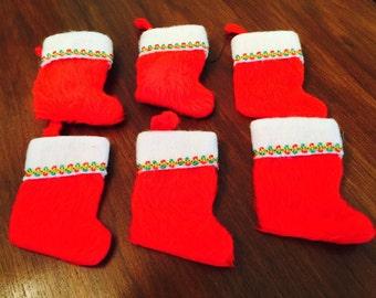 Vintage Flocked Mini Christmas Stockings Santa Red White Jeweled Midcentury Holiday 1960s Set of Six Felted Sequins
