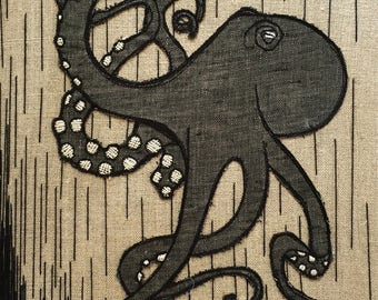 Octopus - Art Embroidery - Hand & Sewing machine embroidered