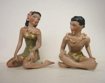 RARE -- 1950's / 1960's Porcelain/Ceramic Hawaiian/Polynesian Girl and Boy Figurine Pair