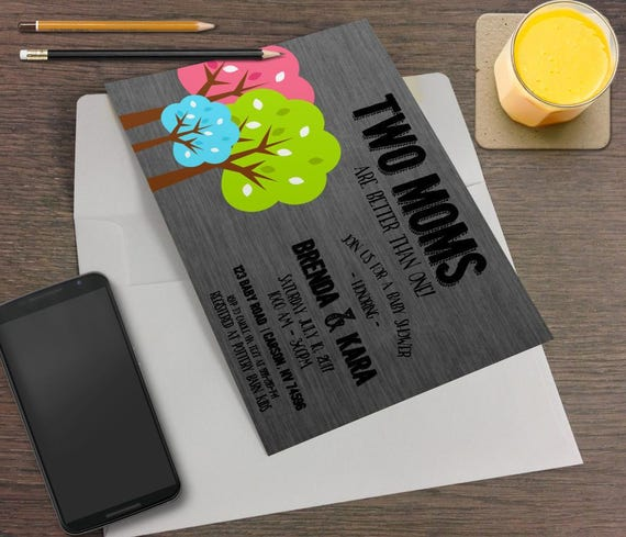 Two moms are better than one printable baby shower invitation il570xn filmwisefo