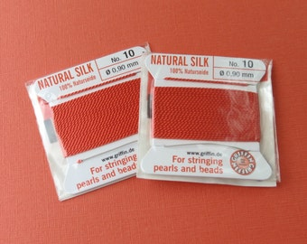 Silk Cord - Natural Silk Cord - With Needle - 2 packs - Size 10 - Coral