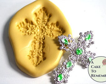 Silicone jeweled cross mold for cake decorating or cupcake decorating, isomalt, chocolate, polymer clay, resin. M5161