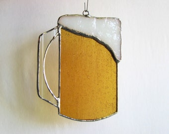 Beer Mug - Stained Glass Sun Catcher-Ornament