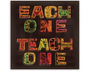 "Each One Teach One Metal Fridge Magnet, 2"" Square"