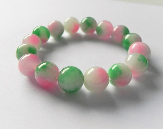Multi coloured quartz stretch gemstone bracelet, pink, green and white