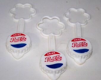 Vintage Pepsi Cola Plastic Bottle Cap Set of 3