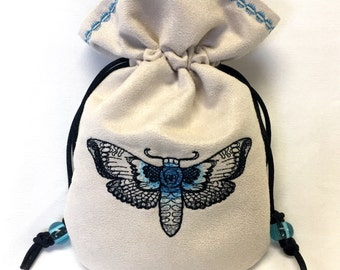 DEATH'S-HEAD MOTH - Faux Suede Embroidered Pouch for Dice, Runes, Tarot Cards, LaRp accessory