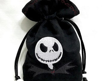 NIGHTMARE BEFORE CHRISTMAS (inspired) - Embroidered Drawstring Dice Bag, Rune Pouch, Tarot Card Bag made of faux suede - LaRp Accessory