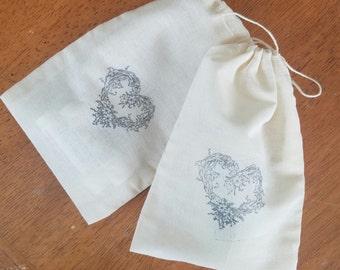 Muslin bags, heart, valentine, gift bag, add on