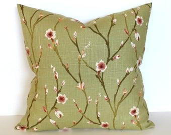 Green Pillow Cover Floral Shabby Chic Spring Decor Decorative Pillow Throw Pillow Cover Euro Sham 26x26 24x24 22x22 20x20 18x18 16x16