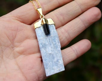 Blue Kyanite With Black Tourmaline - Kyanite Necklace - Tourmaline Necklace - Gold Capped Penant - 14K Gold Filled Necklace - Two Feathers