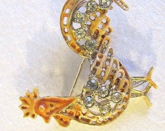 Sweet Vintage 1950's Gold Tone Enamel & Rhinestone ROOSTER Pin/Brooch