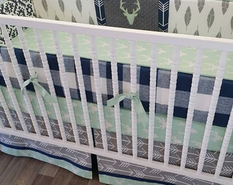 Crib Bedding- Deer Baby Bedding- MADE TO ORDER--Crib Bedding- Boy Baby Bedding- Deer Nursery Bedding- Gray Navy Mint