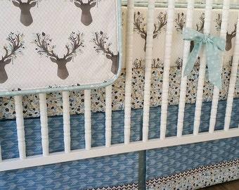 Boy Crib Bedding- Boy Baby Bedding- Deer Crib BeddingMADE TO ORDER-- Nursery Bedding- Gray Blue