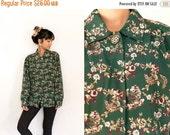20% OFF SALE Green Floral Blouse / Long Sleeve Floral Button Up Shirt / 80s Floral Shirt / Hipster Bohemian Disco Vintage Boho Flower Print