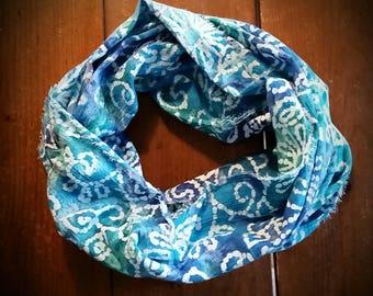 Ocean Hues Batik Infinity Scarf