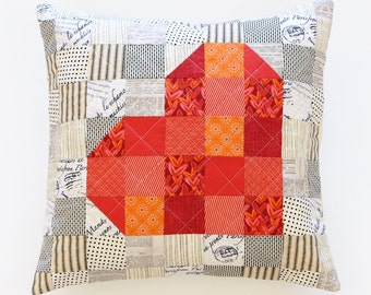 Red Patchwork Heart Pillow, Quilted Pillow, Valentines Gift