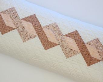Peach Blush Patchwork Pillow, Quilted Lumbar Pillow Cover