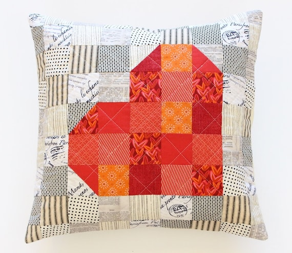 Quilted Red Patchwork Heart Pillow