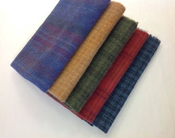 5) Fat Eighths, Wool for Rug Hooking and Appliqué, W335, Rich Deep Color Mix, purple, red, golden orange, green, blue, OOAK