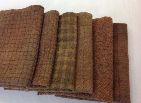 Chestnut Browns, 6) Fat Eighths, Hand Dyed Wool Fabric for Rug Hooking and Applique,  W319, Medium Brown Wool Textures