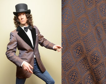 mens vintage tuxedo jacket 60s 70s velvet silk brocade jacket metallic iridescent pattern single button 41 41L long 1960 1970 menswear