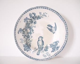 French Vintage blue and white ironstone Birds sparrows staffordshire flow blue delph blue blue willow Cruse Plate