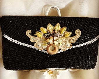 Vintage Beaded Clutch with Embroidery and Brooch