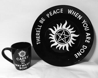 Supernatural Anti-Possession Plate and Mug Set