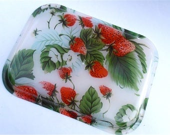 Vintage Red Strawberry Acrylic Tray Rectangular Plate Fruit Patch Red Green Platter Strawberry Serving Dish Rectangle Plate Appetizer