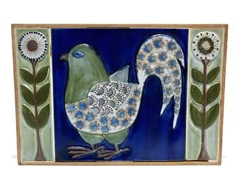 Rare Aluminia Royal Copenhagen Berte Jessen Koehle Faience wall tiles, bird and flowers
