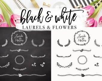 Black & White Laurels and Flowers design elements - PNG files for logo - wall art or digital design