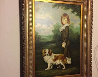 Large Original Oil Painting by Patierno Boy with Dog Framed Art PICK UP ONLY - Houston area