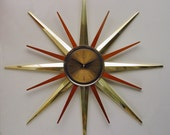 Starburst Clock by Welby, 1970s, Disassembles. Atomic Era Sunburst Clock