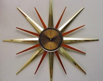Starburst Clock by Welby, 1970s, Disassembles. Atomic Era Sunburst Clock