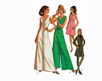 1960s Palazzo Jumpsuit & Dress Pantdress Size 10 Bust 32 1/2 McCalls 2185 Vintage Sewing Pattern
