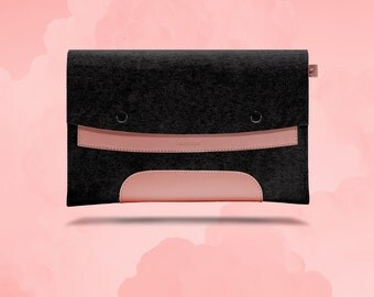 Macbook Air 11 inches. Pink Leather & Black Wool Felt.