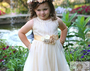 Champage flower girl dress, baby dress, vintage flower girl dress, lace dress, cream flower girl dress, champagne flower girl dress