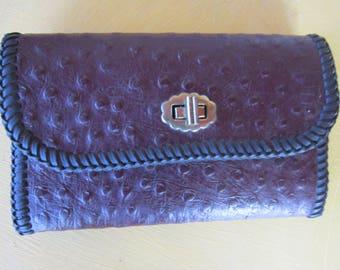 SALE ostrich  wallet .deep plum color. gorgeous handmade large wallet