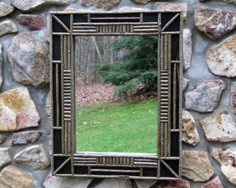 Adirondack Twig Mirror in Black Crackle Finish