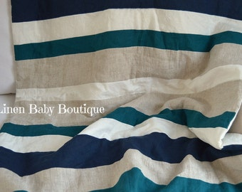 Linen Crib Blanket, Baby Blanket. Gender Neutral. Stripe Blanket Dark Teal, Natural, Ivory and Navy. Fast Shipping!!