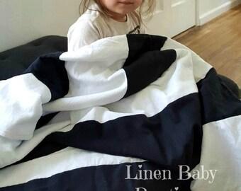 Black and White Stripe Linen Crib Blanket. Toddler Blanket or Baby Blanket. Gender Neutral. Black and White Linen.