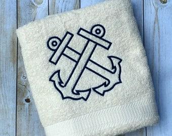 Anchor Outline Bath / Beach Towel