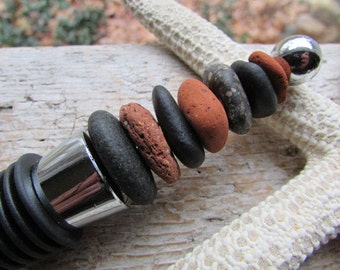 Rustic Beach STONE Bottle Wine Stopper CAIRN Stack