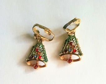 Christmas Tree Earrings Green Enamel Gold Tone Rainbow Rhinestones Vintage Jewelry Jewellery Accessories Gift Guide Women
