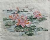 Vintage Cross Stitch Lotus Flower Canvas