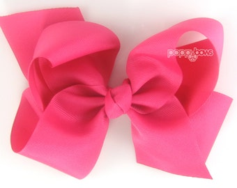 "Extra Large Hair Bow, Shocking Pink Hair Bow, 6"" 6 inch hair bows, big bow, extra large bow, jumbo hair bows, hair bows for girls huge xl"