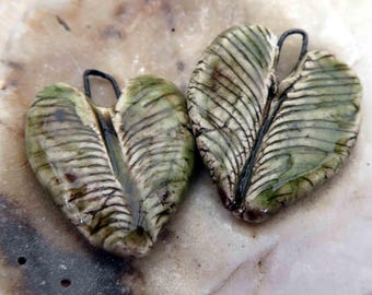 Feathery Green Crackle Hearts