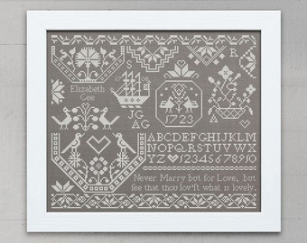 Elizabeth Gee: A Quaker Sampler - Original Cross-Stitch Embroidery Pattern, Instant Download PDF booklet